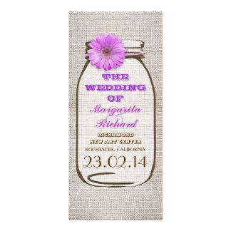 Programas púrpuras rústicos del boda del tarro de  tarjeta publicitaria personalizada