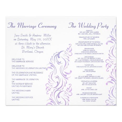 Programas púrpuras y blancos del boda tarjetón