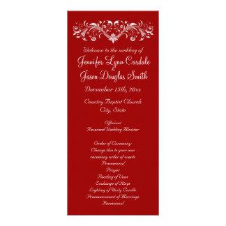 Programas rojos del boda del Flourish elegante Tarjetas Publicitarias Personalizadas