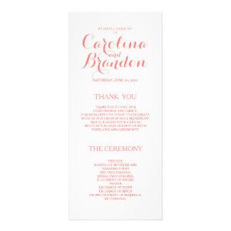 Programas rosados coralinos clásicos del boda de tarjeta publicitaria personalizada