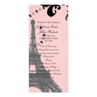 programas rosados del boda de París del vintage de Tarjeta Publicitaria A Todo Color