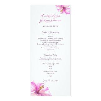 """Programas rosados del boda del hibisco invitación 4"""" x 9.25"""""""