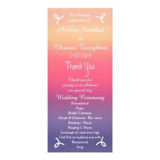 Programas rosados púrpuras del boda de playa de tarjeta publicitaria a todo color