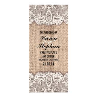 Programas rústicos de la arpillera y del boda del