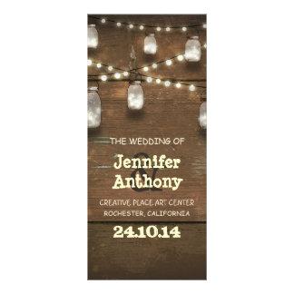 Programas rústicos de madera del boda de los tarro tarjetas publicitarias personalizadas