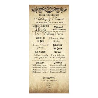 Programas rústicos del boda de la tipografía del lona