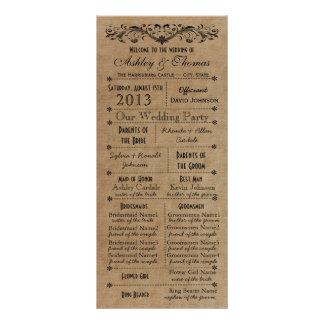 Programas rústicos del boda del estilo de la tipog tarjeta publicitaria a todo color