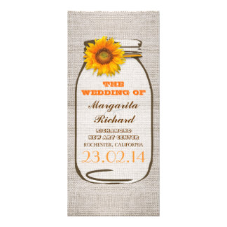 Programas rústicos del boda del girasol del tarro  lonas