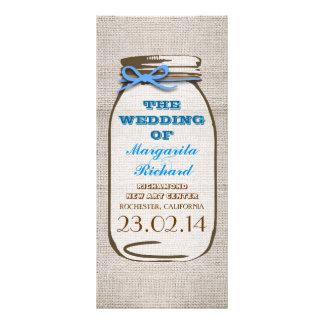 Programas rústicos del boda del tarro de albañil d tarjetas publicitarias a todo color