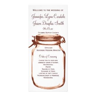 Programas rústicos del boda del tarro de albañil tarjetas publicitarias a todo color