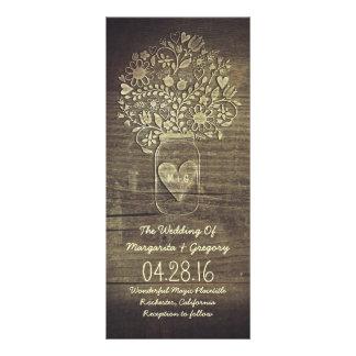 programas rústicos florales del boda del tarro de tarjeta publicitaria