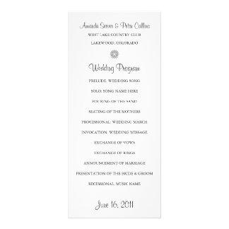 """Programas simples del boda (blancos) folleto publicitario 4"""" x 9"""""""