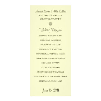 Programas simples del boda (crema) tarjeta publicitaria