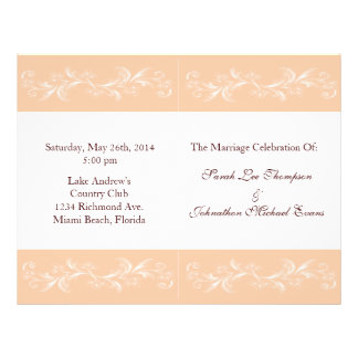 """Programas suaves del boda del melocotón folleto 8.5"""" x 11"""""""