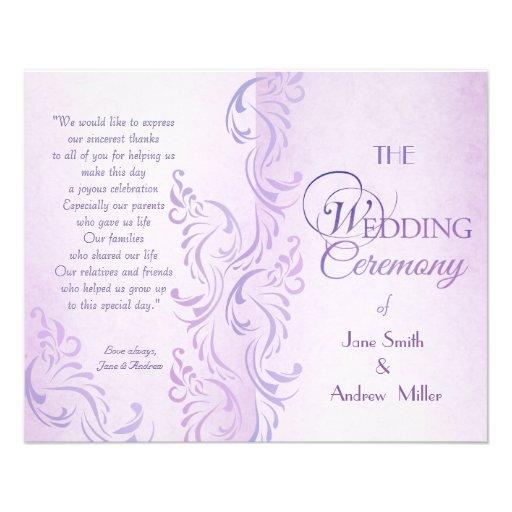 Programas sucios púrpuras del boda tarjetas publicitarias