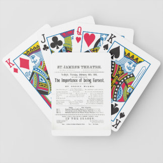 Programme for a performance of The Importance of B Bicycle Playing Cards