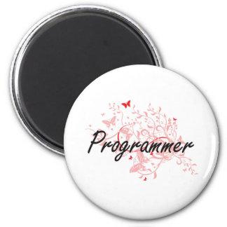 Programmer Artistic Job Design with Butterflies 2 Inch Round Magnet