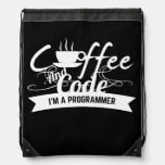programmer backpack: coffee and code drawstring bag