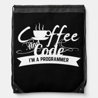 programmer backpack: coffee and code drawstring backpacks