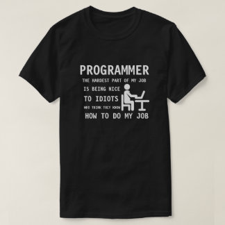 PROGRAMMER - Being nice to idiots who think... T-Shirt
