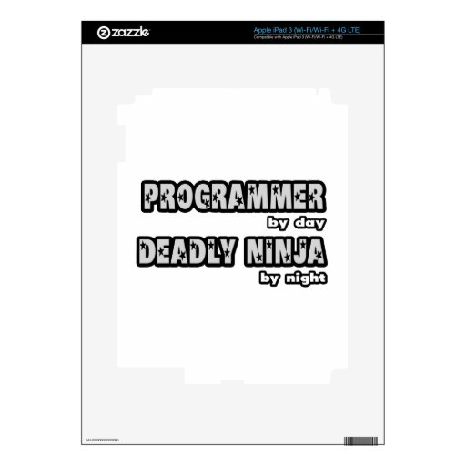 Programmer By Day...Deadly Ninja By Night Decals For iPad 3
