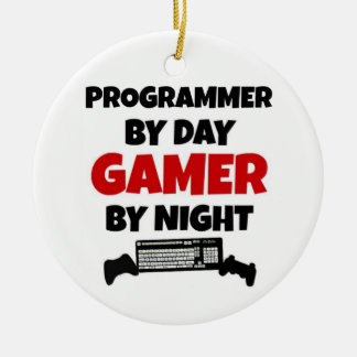 Programmer by Day Gamer by Night Ceramic Ornament