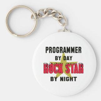 Programmer by Day rockstar by night Basic Round Button Keychain
