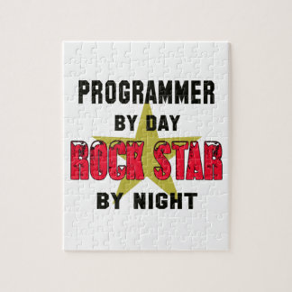 Programmer by Day rockstar by night Jigsaw Puzzles