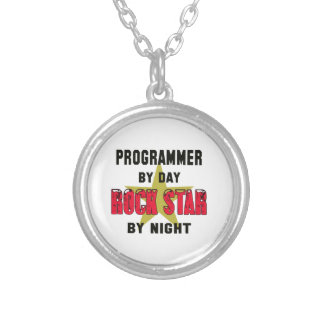Programmer by Day rockstar by night Round Pendant Necklace