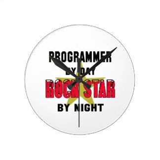 Programmer by Day rockstar by night Round Wall Clocks