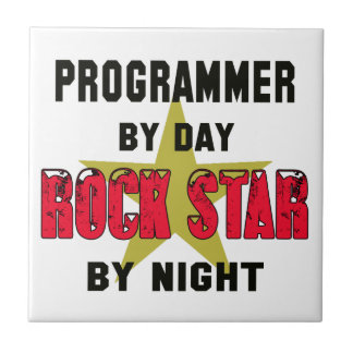 Programmer by Day rockstar by night Small Square Tile