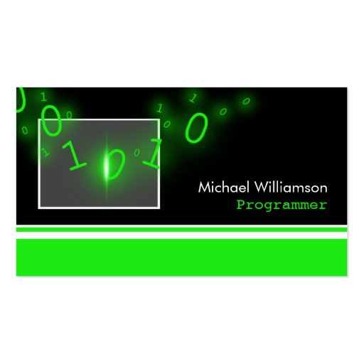 Programmer Green 1's and 0's Business Cards