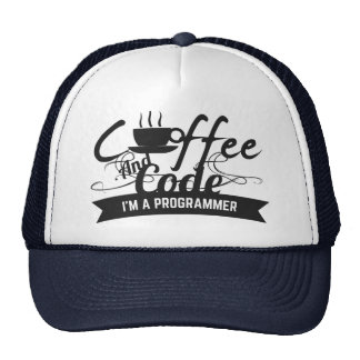programmer hat-coffee and code trucker hat