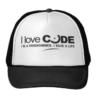 programmer hat: i love code trucker hat