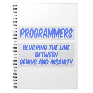 Programmer Joke .. Genius and Insanity Spiral Notebook
