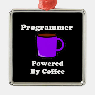 """""""Programmer"""" Powered by Coffee Metal Ornament"""