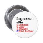 Programmer Quiz...Joke Pinback Buttons