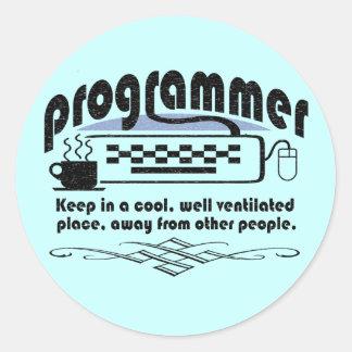 Programmer Round Stickers