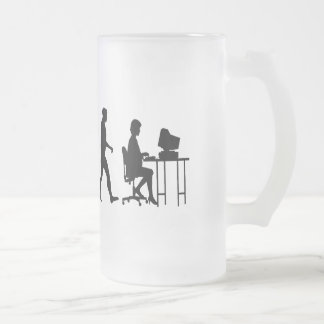 Programmers business analysts secretaries gear frosted glass beer mug