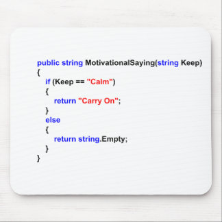 Programmers Keep Calm and Carry On Mouse Mat Mouse Pad