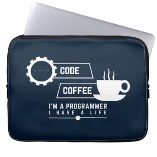 programmers sleeve: code and coffee laptop sleeve