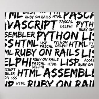 Programming Languages (Java, Pascal) - Black Poster