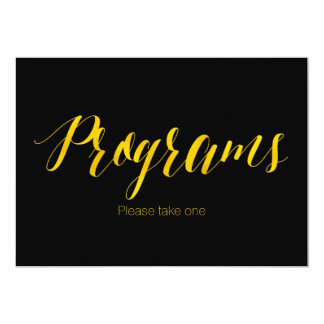 """Programs"" Faux Gold Foil Chic Wedding Sign Card"