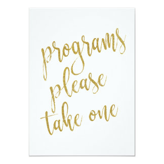 Programs Please Take One Gold Affordable Sign