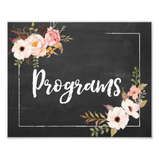 Programs Rustic Chalkboard Floral Wedding Sign
