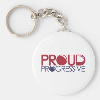 Progresista orgulloso llavero redondo tipo pin