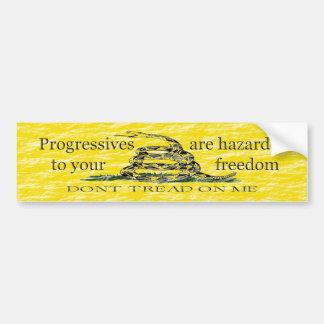 Progresistas peligrosos a la pegatina para el para pegatina de parachoque