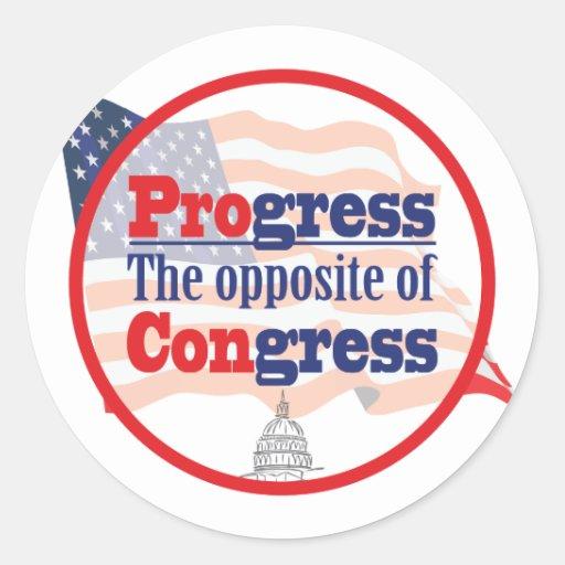 Progreso.  El contrario del congreso Pegatina Redonda