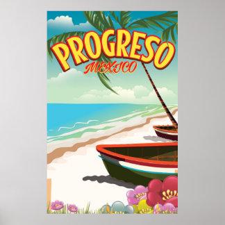 Progreso Mexican travel poster