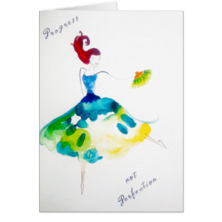 Progress not Perfection Watercolor Dancer Greeting Card